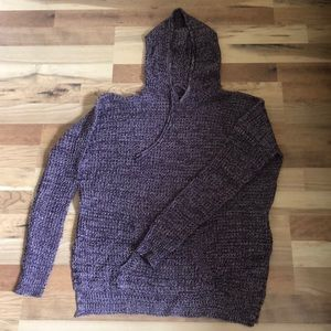 Long sleeve marled knit pullover hoodie